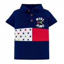 Navy Blue and Red Stars Polo Shirt