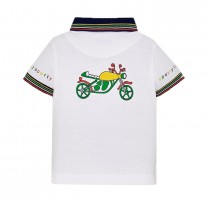 White Motorcycle Polo Shirt