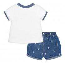 White Tops and Blue Giraffes Printed Short Pants Set