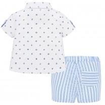 Baby Boy Polkadot Stripe Shirt-Short Set