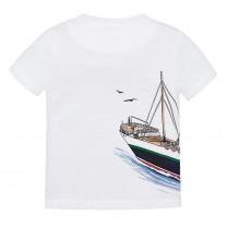 White Ship Printed T-Shirt
