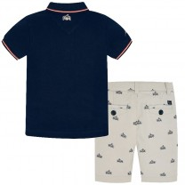 Navy Polo-Printed Bermuda Pants Set