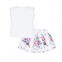 Floral white T-shirt and Skirt set