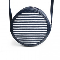 Navy Blue and White Striped Straw Bag