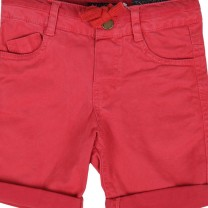 Red Denim Style with Rolled Hem Shorts