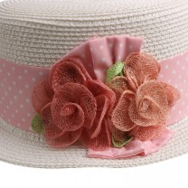 White & Pink Straw Hat