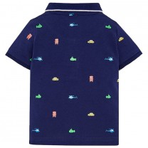 Navy Blue All-over Printed Polo Shirt