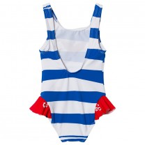 Blue And Red Sailor Print Striped Swimsuit