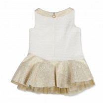 White Gold Tule Assymetrical Dress