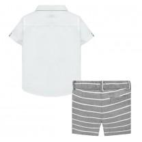 Boys Blue Linen Shorts Set