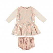 Dusky Pink Silver Stars Tulle Dress