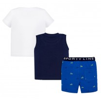 White and Navy Blue Boat 3 Piece Shorts Set