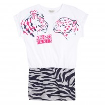 White Tiger and Friend Animal Print Dress
