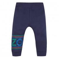 Navy Blue Cotton Striped Logo Jogger Pants