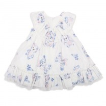White & Blue Teddy Bear Dress