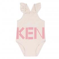 Pink Printed Logo Swimwear