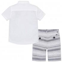 White Shirt and Grey Short Set
