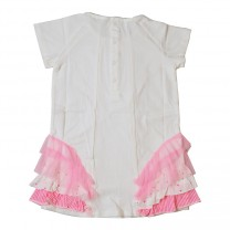 Girls White Dress with Pink Multi Fabric Ruffles