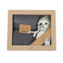 Dak Grey Knitted Blanket, with Seagull Crochet Toy Set