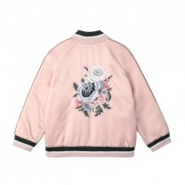 Flower Satin Bomber Jacket