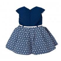 Navy Blue Printed Formal Dress