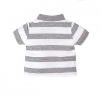Grey White Striped Polo Shirt