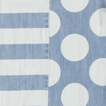 Blue Polka Dotted and Stripe Bess Denim Dress