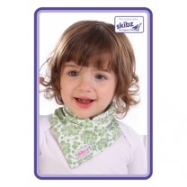Green Floral and Polka Dot Reversible Bib