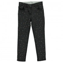 Black Denim Pants with Multicolored Dots Print