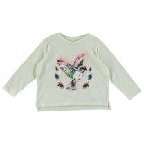 Ivory White Bird Print Long Sleeve T-Shirt