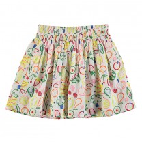 White Fruit All Over Print Skirt