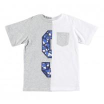 Grey White Printed T-shirt