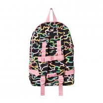 Pink and Neon Camo with Logo Straps Backpack