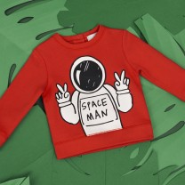 Boys Red Space Man Cotton Sweatshirt