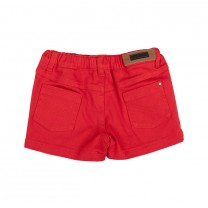 Red Cotton Denim Shorts