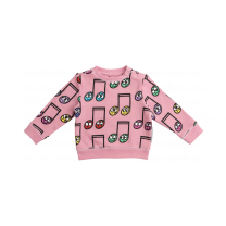Pink Happy Notes Cotton Sweater