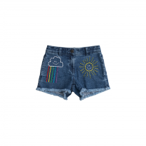 Weather Embroidery Denim Shorts