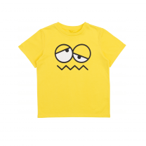 Yellow Face Print Cotton T-Shirt