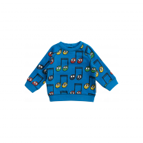 Blue Happy Notes Cotton Sweater