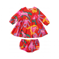 Red Horse Print Dress