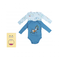 Blue Horse Print Babysuit Set