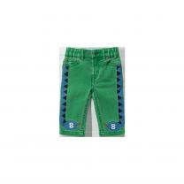 Green Snake Print Denim Pants