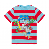 Blue & Red Graphic Stripes T-Shirt