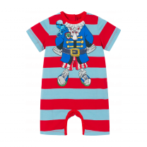 Red & Blue Pirate Stripes Shortie