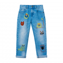 Animal Denim Pants