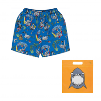 Blue All - Over Flamingo Swim Shorts