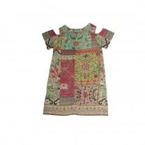 Multi-colored Peek Shoulder Floral Patchwork Printed Dress