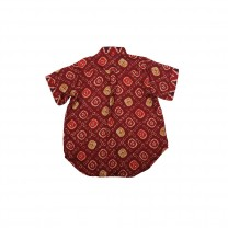 Red Maroon Jumputan Lombok Printed Shirt