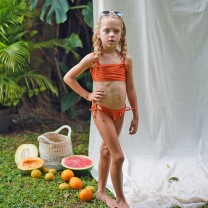Orange Girls Double Strap Bikini Top