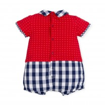 Red and Navy Blue Checkered Shortie